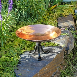 Achla Polished Copper Birdbath with Tripod Stand