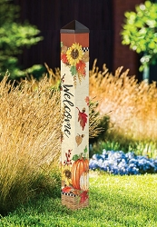 3 ft. Art Pole 4x4 Fall Sunflower Welcome