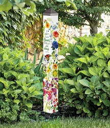 40 Inch Art Pole 4x4 Watercolor Flowers
