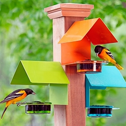 Fence/Post Metal & Glass House Bird Feeder Trio