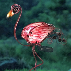 Flamingo Glass Orb Solar Garden Stake