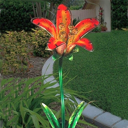 Solar Tiger Lily Garden Stake Red Set of 2
