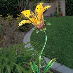 Solar Tiger Lily Garden Stake Yellow Set of 2