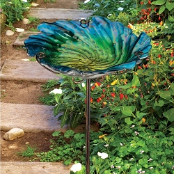 Birdbath/Bird Feeder Garden Stake Blue