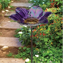Birdbath/Bird Feeder Garden Stake Purple