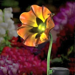 Mini Solar Poppy Garden Stake Orange Set of 2