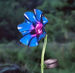 Mini Solar Poppy Garden Stake Purple Set of 2