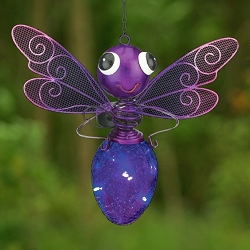 Solar Light Dragonfly Lantern Purple