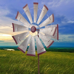 Galvanized Windmill Kinetic Stake Garden Spinner 32
