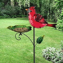 Bird Feeder Garden Stake Cardinal Set of 2