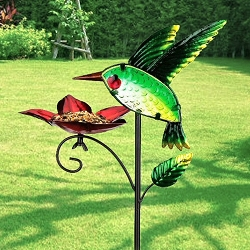 Bird Feeder Garden Stake Hummingbird Set of 2