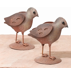 Quail Decor Sculpture Chicks Set of 2