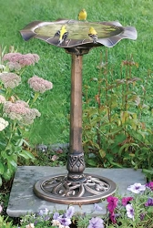 Lily Leaf Pedestal Birdbath Antique Copper
