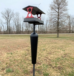 Recycled Plastic Fly-Through Feeder Large Red/Gray with Squirrel Stopper Pole Kit