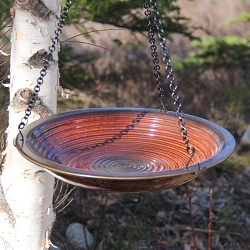 Alcyon Circles Hanging Bird Bath Rustic Red