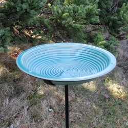 Alcyon Circles Staked Bird Bath Jade Green