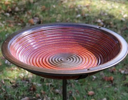 Alcyon Circles Staked Bird Bath Rustic Red