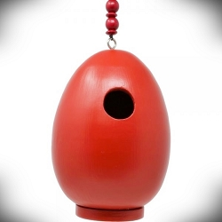 Egg Bird House Red