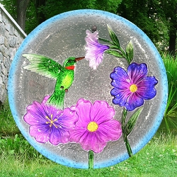 Hummingbird Embossed Glass Birdbath Bowl
