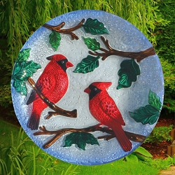 Perching Cardinals Embossed Glass Birdbath Bowl