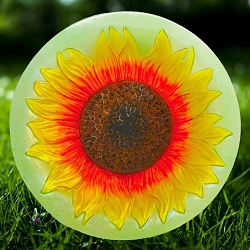 Sunflower Embossed Glass Birdbath Bowl