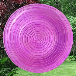 Magenta Swirl Embossed Glass Birdbath Bowl
