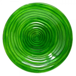 Hunter Green Swirls Embossed Glass Birdbath Bowl