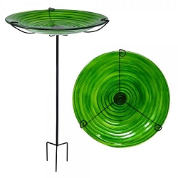 Hunter Green Swirls Embossed Glass Birdbath Staked