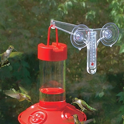 Dr. JB's Clean 16 oz. Hummingbird Feeder All Red with Window Hanger Thermometer