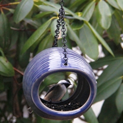 Mango Stone Fly-Through Bird Feeder Cobalt Blue