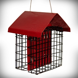Metal House Double Suet Feeder Red