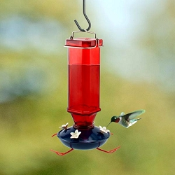Audubon Patriotic Vintage Glass Hummingbird Feeder 16 oz.