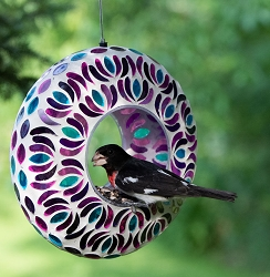 Mosaic Glass Round Fly-Through Bird Feeder
