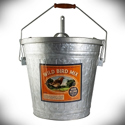 Rustic Farmhouse Wild Bird Mix Galvanized Storage Container