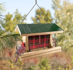 Lake & Cabin Buffalo Plaid Ranch Feeder w/Suet Cages