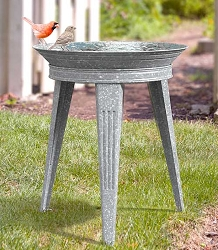 Vintage Galvanized Metal Birdbath with Stand