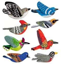 Wild Woolies Backyard Bird Ornament Collection #3 Set of 8