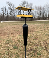Recycled Plastic Fly-Through Feeder Large Yellow/Gray with Squirrel Stopper Pole Kit