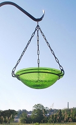 Crackle Glass Hanging Bird Bath 12