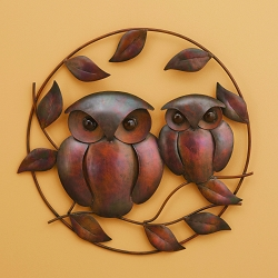 Flamed Copper Owl Duo Wall Hanging 18