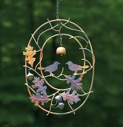 Flamed Copper Birds on Branches Hanging Ornament
