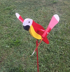 Whirly Bird Red Parrot Spinner