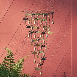 Shimmering Bells Verdigris/Copper Dragonflies Wall Hanging