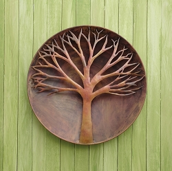 Flamed Copper Raised Tree Wall Disc 24