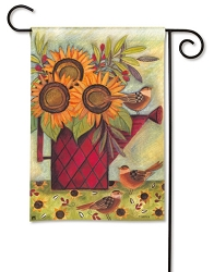Sunflowers and Sparrows Garden Flag