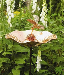 Achla Polish Copper Hummingbird Birdbath
