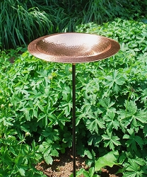 Achla Hammered Copper Birdbath with Rim