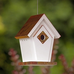 Flamed Copper Top Hanging Wren House
