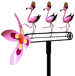 Dancing Flamingo Whirligig with Pole