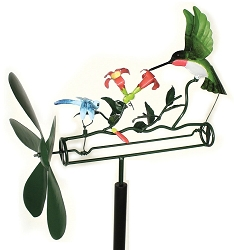 Ruby Hummingbird & Dragonfly Whirligig with Pole